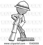 Clip Art of Retro Explorer Guy Cleaning Services Janitor Sweeping Floor with Push Broom by Leo Blanchette
