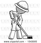 Clip Art of Retro Explorer Guy Cleaning Services Janitor Sweeping Side View by Leo Blanchette