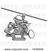 Clip Art of Retro Explorer Guy Flying in Gyrocopter Front Side Angle Top View by Leo Blanchette