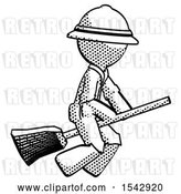 Clip Art of Retro Explorer Guy Flying on Broom by Leo Blanchette