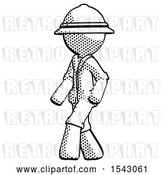 Clip Art of Retro Explorer Guy Guy Walking Turned Left Front View by Leo Blanchette