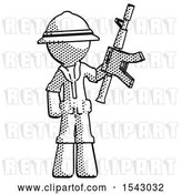 Clip Art of Retro Explorer Guy Holding Automatic Gun by Leo Blanchette