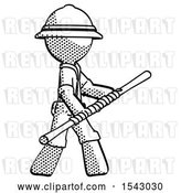 Clip Art of Retro Explorer Guy Holding Bo Staff in Sideways Defense Pose by Leo Blanchette