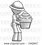 Clip Art of Retro Explorer Guy Holding Large Cupcake Ready to Eat or Serve by Leo Blanchette