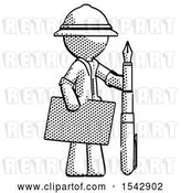 Clip Art of Retro Explorer Guy Holding Large Envelope and Calligraphy Pen by Leo Blanchette