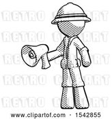Clip Art of Retro Explorer Guy Holding Megaphone Bullhorn Facing Right by Leo Blanchette