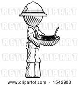 Clip Art of Retro Explorer Guy Holding Noodles Offering to Viewer by Leo Blanchette