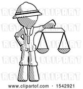 Clip Art of Retro Explorer Guy Holding Scales of Justice by Leo Blanchette