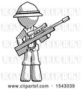 Clip Art of Retro Explorer Guy Holding Sniper Rifle Gun by Leo Blanchette