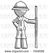 Clip Art of Retro Explorer Guy Holding Staff or Bo Staff by Leo Blanchette