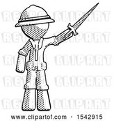 Clip Art of Retro Explorer Guy Holding Sword in the Air Victoriously by Leo Blanchette