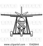 Clip Art of Retro Explorer Guy in Ultralight Aircraft Front View by Leo Blanchette