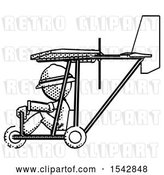 Clip Art of Retro Explorer Guy in Ultralight Aircraft Side View by Leo Blanchette
