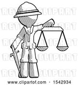 Clip Art of Retro Explorer Guy Justice Concept with Scales and Sword, Justicia Derived by Leo Blanchette