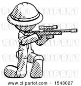 Clip Art of Retro Explorer Guy Kneeling Shooting Sniper Rifle by Leo Blanchette