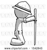 Clip Art of Retro Explorer Guy Kneeling with Ninja Sword Katana Showing Respect by Leo Blanchette