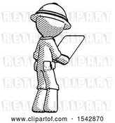 Clip Art of Retro Explorer Guy Looking at Tablet Device Computer Facing Away by Leo Blanchette