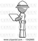 Clip Art of Retro Explorer Guy Looking at Tablet Device Computer with Back to Viewer by Leo Blanchette