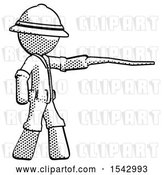 Clip Art of Retro Explorer Guy Pointing with Hiking Stick by Leo Blanchette