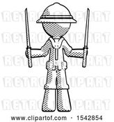 Clip Art of Retro Explorer Guy Posing with Two Ninja Sword Katanas up by Leo Blanchette