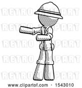 Clip Art of Retro Explorer Guy Presenting Something to His Right by Leo Blanchette