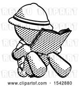 Clip Art of Retro Explorer Guy Reading Book While Sitting down by Leo Blanchette
