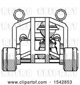 Clip Art of Retro Explorer Guy Riding Sports Buggy Front View by Leo Blanchette