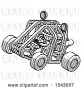 Clip Art of Retro Explorer Guy Riding Sports Buggy Side Top Angle View by Leo Blanchette