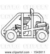 Clip Art of Retro Explorer Guy Riding Sports Buggy Side View by Leo Blanchette