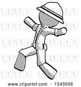 Clip Art of Retro Explorer Guy Running Away in Hysterical Panic Direction Left by Leo Blanchette