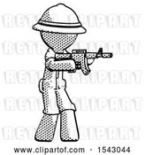 Clip Art of Retro Explorer Guy Shooting Automatic Assault Weapon by Leo Blanchette