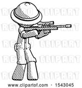 Clip Art of Retro Explorer Guy Shooting Sniper Rifle by Leo Blanchette