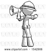 Clip Art of Retro Explorer Guy Shouting into Megaphone Bullhorn Facing Left by Leo Blanchette