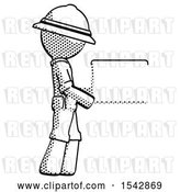 Clip Art of Retro Explorer Guy Show Tablet Device Computer to Viewer, Blank Area by Leo Blanchette