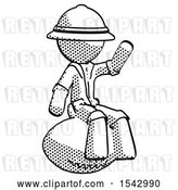 Clip Art of Retro Explorer Guy Sitting on Giant Football by Leo Blanchette