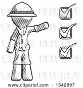 Clip Art of Retro Explorer Guy Standing by List of Checkmarks by Leo Blanchette