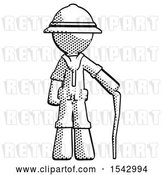 Clip Art of Retro Explorer Guy Standing with Hiking Stick by Leo Blanchette