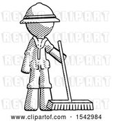 Clip Art of Retro Explorer Guy Standing with Industrial Broom by Leo Blanchette