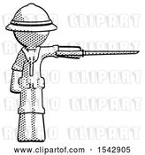 Clip Art of Retro Explorer Guy Standing with Ninja Sword Katana Pointing Right by Leo Blanchette