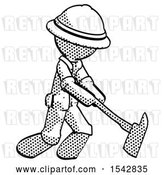Clip Art of Retro Explorer Guy Striking with a Red Fireman's Ax by Leo Blanchette