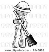 Clip Art of Retro Explorer Guy Sweeping Area with Broom by Leo Blanchette