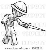 Clip Art of Retro Explorer Guy Sword Pose Stabbing or Jabbing by Leo Blanchette