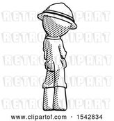 Clip Art of Retro Explorer Guy Thinking, Wondering, or Pondering Rear View by Leo Blanchette