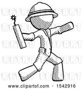 Clip Art of Retro Explorer Guy Throwing Dynamite by Leo Blanchette