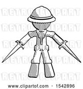 Clip Art of Retro Explorer Guy Two Sword Defense Pose by Leo Blanchette