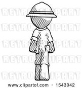 Clip Art of Retro Explorer Guy Walking Away, Back View by Leo Blanchette