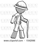 Clip Art of Retro Explorer Guy Walking with Hiking Stick by Leo Blanchette