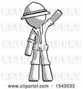 Clip Art of Retro Explorer Guy Waving Emphatically with Left Arm by Leo Blanchette