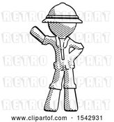 Clip Art of Retro Explorer Guy Waving Right Arm with Hand on Hip by Leo Blanchette