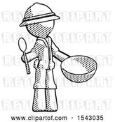 Clip Art of Retro Explorer Guy with Empty Bowl and Spoon Ready to Make Something by Leo Blanchette